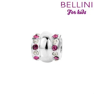 Bellini 564.413 Zilveren Bellini bedel fantasie met roze en witte zirkonia's