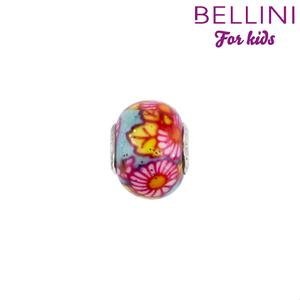 Bellini 561.505 - glasbedel blauw met roze bloem