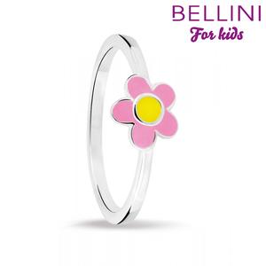 Bellini 579.003 - Zilveren Bellini ring met roze emaille bloem