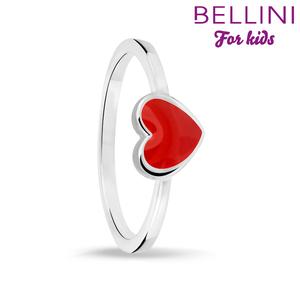 Bellini 579.009 - Zilveren Bellini ring met rood emaille hartje
