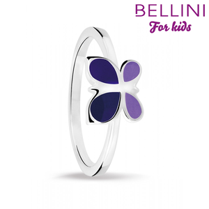 Bellini 579.002 - Zilveren Bellini ring met paars emaille vlinder