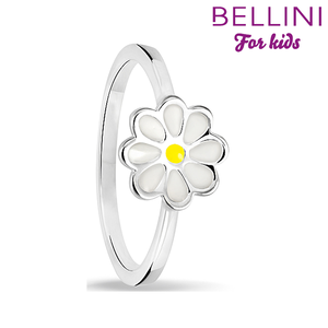Bellini 579.012 - Zilveren Bellini ring met wit emaille bloem