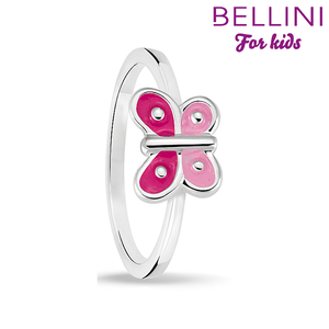 Bellini 579.011 - Zilveren Bellini ring met roze emaille vlinder