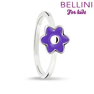 Bellini 579.017 - Zilveren Bellini ring met paarse emaille bloem