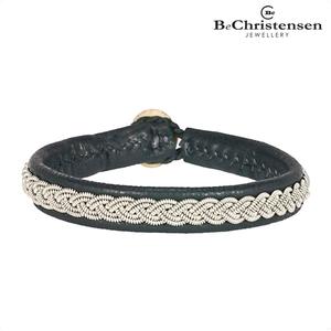 BeChristensen Classic grey 21 - grijze leren kinder armband