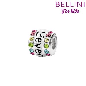 Bellini 564.412 Zilveren bedel fantasie met gekleurde zirkonia's en de tekst 'lieverd'