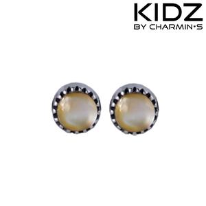 Charmin's E02 - Zilveren kinderoorbellen met bruine parel