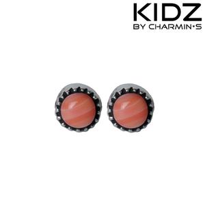 Charmin's E03 - Zilveren kinderoorbellen met roze jade