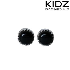 Charmin's E07 - Zilveren kinderoorbellen met zwarte edelsteen