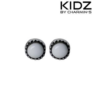 Charmin's E01 - Zilveren kinderoorbellen met witte edelsteen