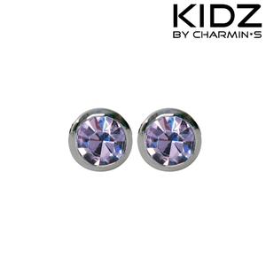 Charmin's E09 - Zilveren kinderoorbellen met paarse zirkonia