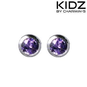 Charmin's E12 - Zilveren kinderoorbellen met paarse ronde zirkonia