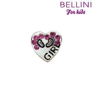 Bellini 564.416 Zilveren bedel hart met roze zirkonia's