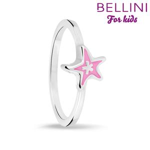 Bellini 579.008 - Zilveren Bellini ring met roze emaille ster